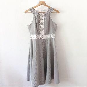 London Times Gray & White Striped Dress